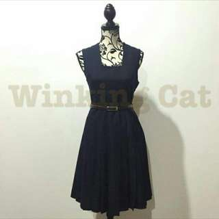 Vintage Dark Blue Midi Dress(Used)
