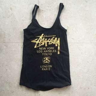 Stussy Black Gold Singlet Tank Top XS