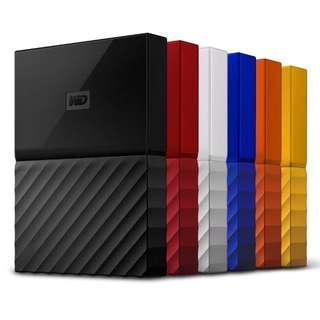 "2TB Western Digital WD My Passport Black External HDD 2.5"" Portable Hard Disk Drive Latest"