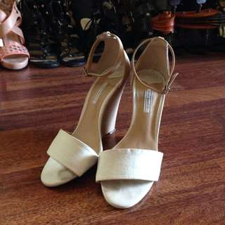 Tony Bianco White Leather Wedge Strappy Heels