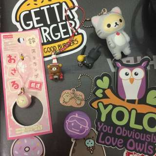 Stickers,keychains,and mobile accessories