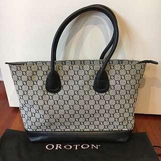 Oroton Logo Black Over the Shoulder Tote