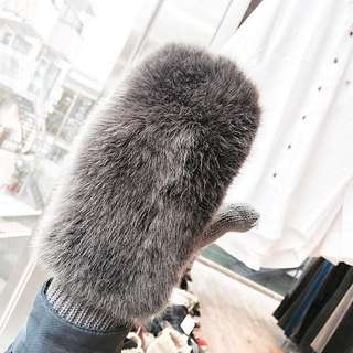 Winter Gloves In Grey [FUR] From Japan!