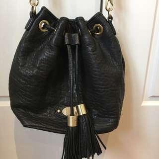 Saba Leather Black Bucket Bag
