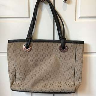 Oroton Brown Leather And Canvas Over Shoulder Tote