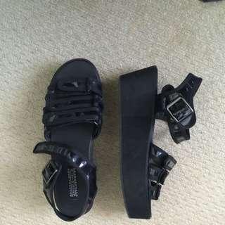 Unique Black Wedge Sandals
