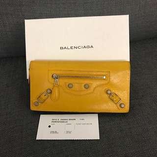 Balenciaga 仿古長夾 皮夾 黃色皮包