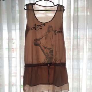 Brown See Through Dress