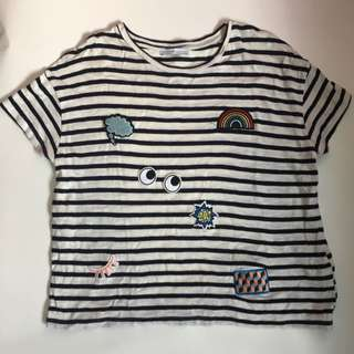 ZARA Striped Patches Tshirt (Medium)
