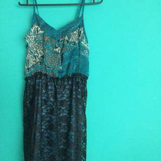 Blue Green Laced Dress
