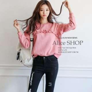 【Alice Shop 愛麗絲】冬季新款 韓版寬鬆木耳邊加絨加厚長袖T恤上衣【pg32746】預購
