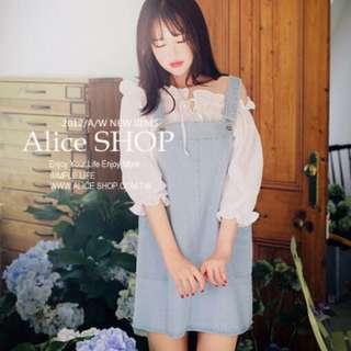 【Alice Shop 愛麗絲】冬季新款 韓版甜美天空色口袋減齡牛仔吊帶裙 連衣裙【pg28290】預購