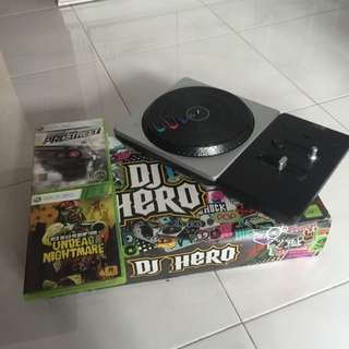 Xbox 360 Dj Hero Turntable With Two Games