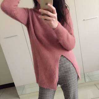 韓國代購實拍 毛絨開衩長版毛衣