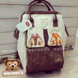【Wenwens】日本帶回 迪士尼樂園 秋日派對 奇蒂 奇奇蒂蒂 收納包 書包 背包 寬口 後背包 旅行包 外出包