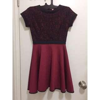 Red Dress // Dress Imlek // Lace Dress // Maroon Dress