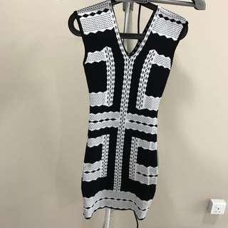 Body Cons V Neck Black and White Dress