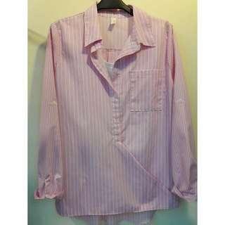 正韓秋冬款粉色假兩件直條長袖襯衫
