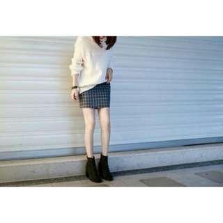 轉賣 #nude 店內款 全新灰格短裙 M號(studio.may_5253.韓妮、可樂果)