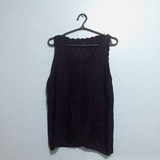 Black Knitted/Net Top