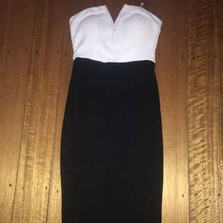 NEED GONE BEFORE NEW YEARS EVE White And Black Fitted Dress
