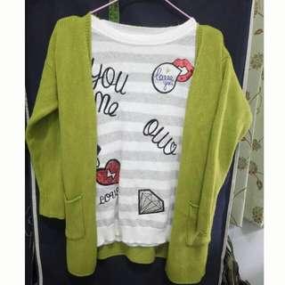 厚針織綠毛衣