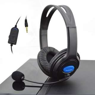 Wired Gaming Headset Headphones with Microphone for Sony PS4 PlayStation 4 (Size: 148g, Color: Black & Blue)