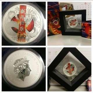 澳洲柏斯鑄幣廠 2017年 圖瓦盧 中國農曆新年快樂 銀幣 (1oz) 發行5千。