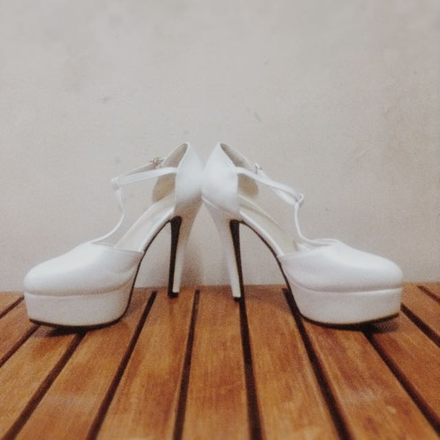 3-inch White Platform Shoes (Jinpin)