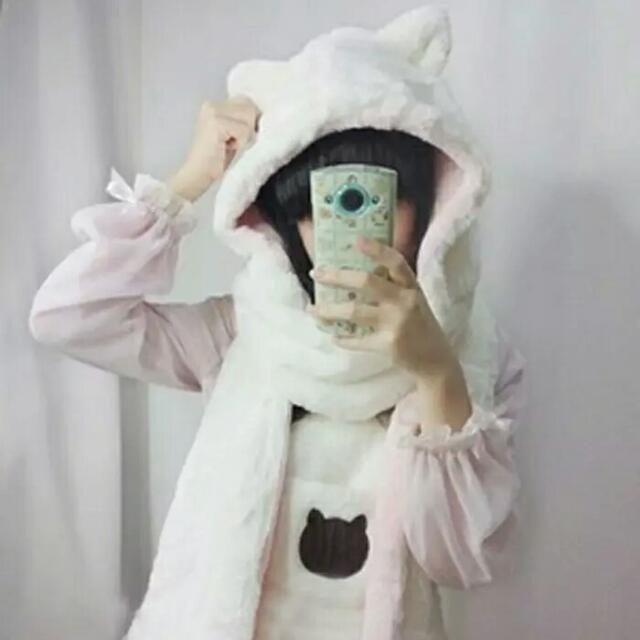全新預購☆日系毛絨圍巾貓耳朵可愛造型