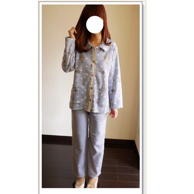全新✨日本超可愛保暖前扣式口袋睡衣