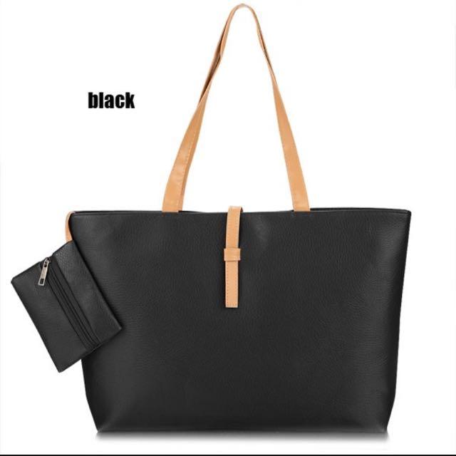 🙌現貨出清🙌經典拖特包+零錢包-黑色