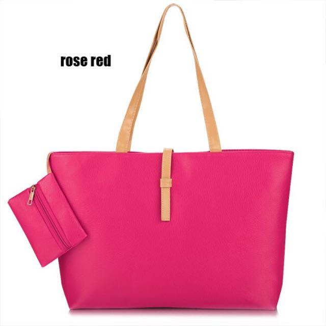 🙌現貨出清🙌經典拖特包+零錢包-桃紅色