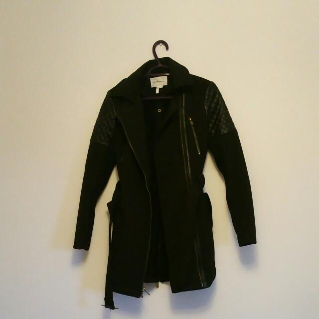 BCBG Black Winter Jacket/Trench Coat