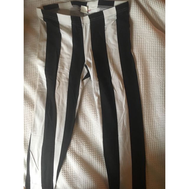 Black And White Striped Suprè Leggings