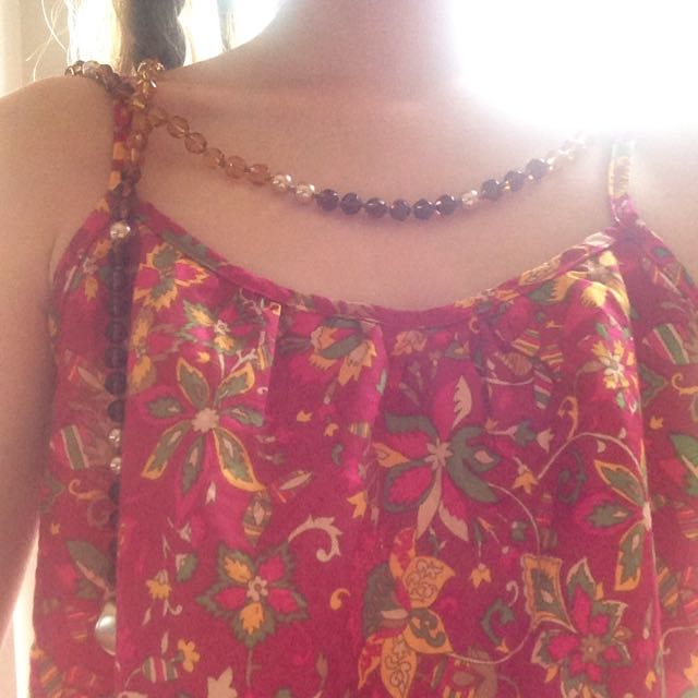 Bead And Pearl Wrap Around Necklace