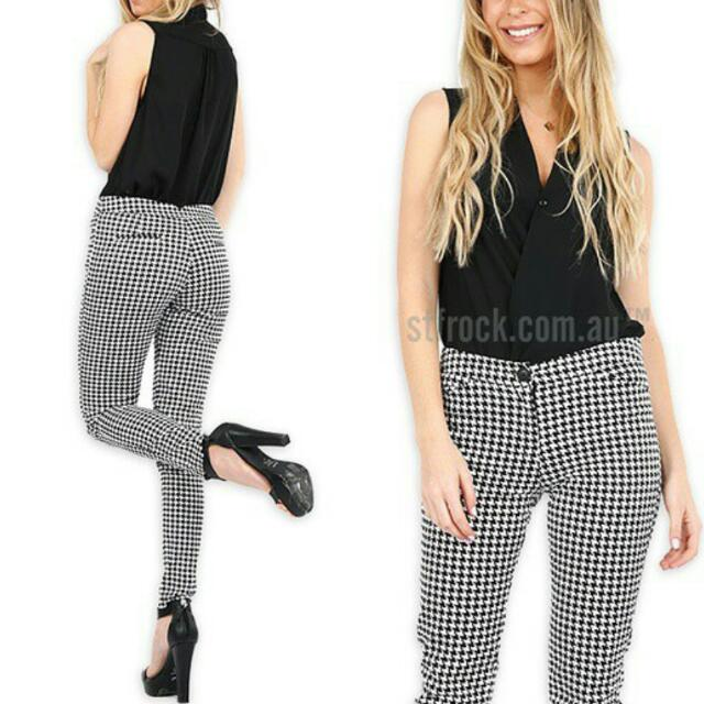Check Pants In Black (Size 8) And Navy (Size 10)