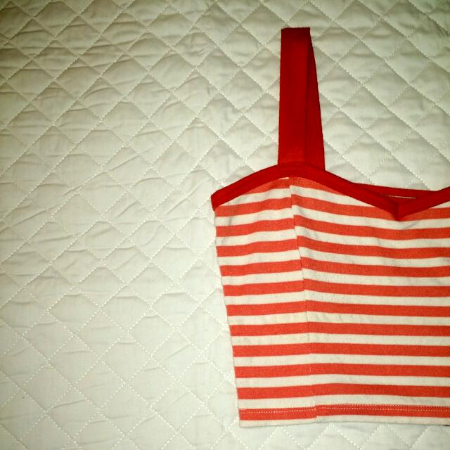 Coral And White Striped Crop Top, Ladder Back
