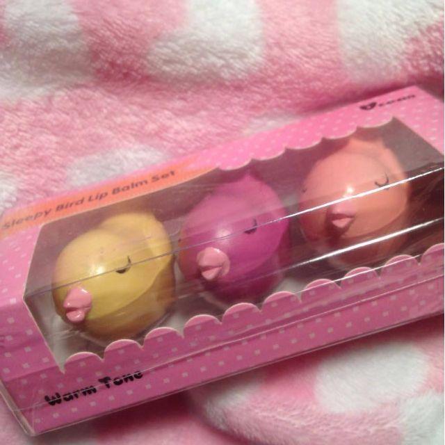 "Cute ""sleepy bird"" trio lipbalm set"