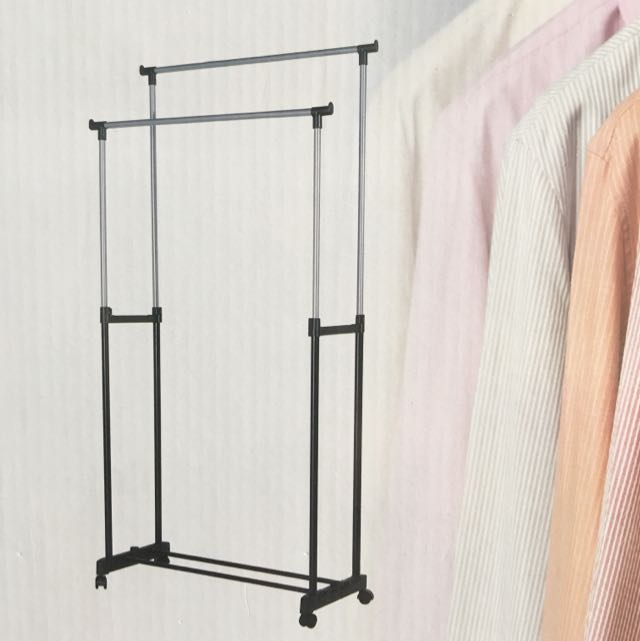 Double Pole Clothes Rack with Adjustable Height