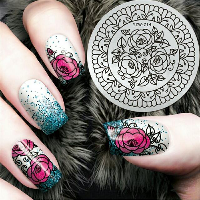 Elegant Chic Flower Design Nail Art Stamp Plate Mandala Stamping