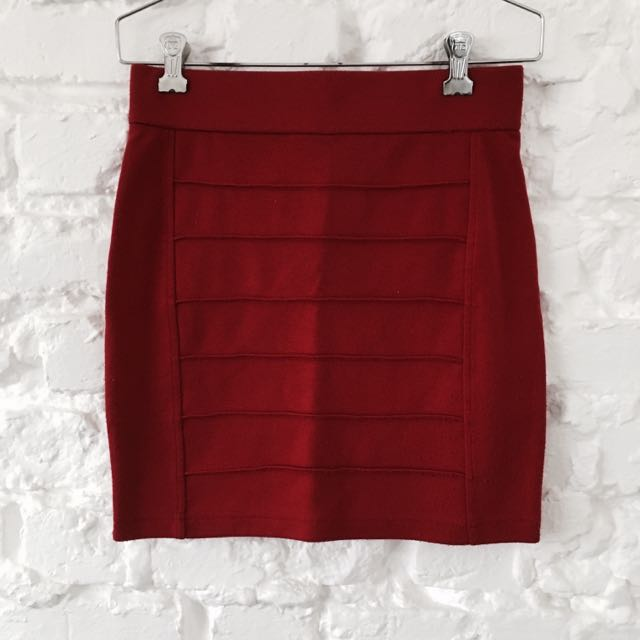F21 Dark Red Military Skirt