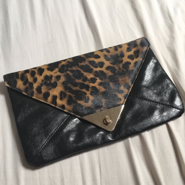 Faux Leather Print Clutch