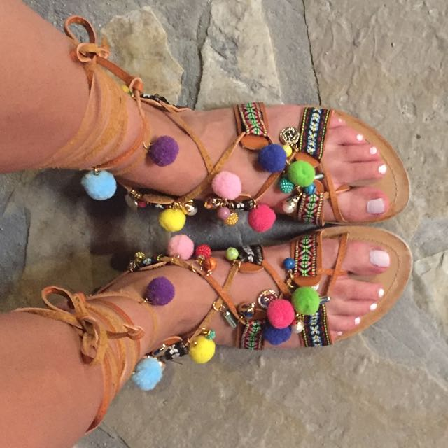 Hand Made Leather Pompon Sandals Lace Up Made In Santorini Greece