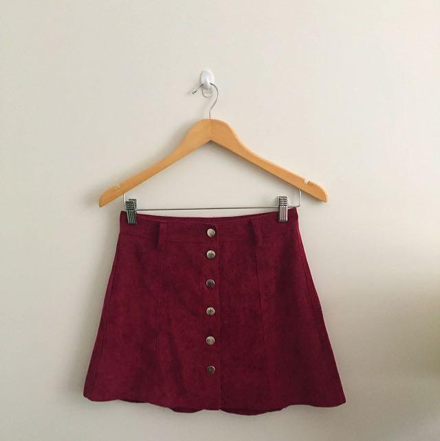 High Waisted Velvet Vintage Skirt