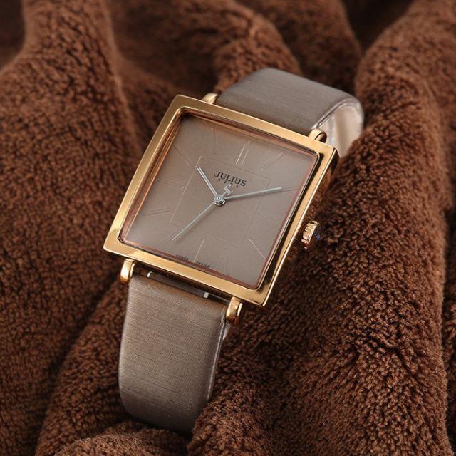 Julius Lady Quartz Watches Women Luxury Rose Gold Antique Square
