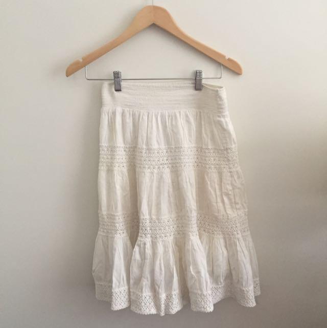 Knee Length Boho White Skirt