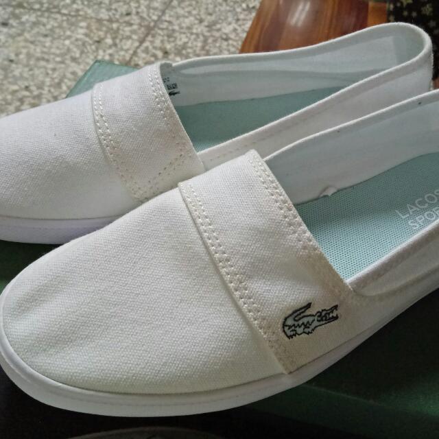 全新正品lacoste 白色休閒平底鞋