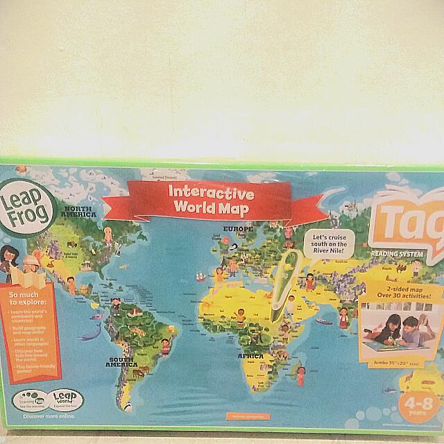 Leapfrog Interactive World Map.Leap Frog Leapfrog Interactive World Map Tag Reading System Bnib