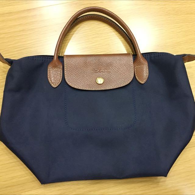 (保留)Longchamp 正品深藍 短把S號